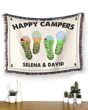 Load image into Gallery viewer, Foal14 Personalized Woven Blanket Valentine Gift, Camping - Happy Campers, With Custom Names