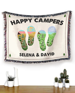 Foal14 Personalized Woven Blanket Valentine Gift, Camping - Happy Campers, With Custom Names