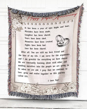 Load image into Gallery viewer, Foal14 Personalized Woven Blanket For Husband And Wife Valentine Gift, Flower Love Note, With Personalized Text