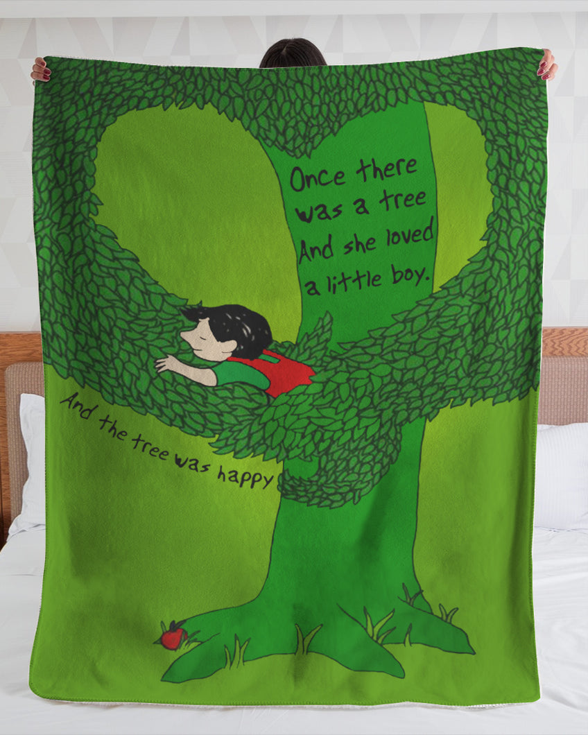 Happy Green Tree Fleece Blanket