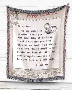 Foal14 Personalized Woven Blanket For Husband And Wife Valentine Gift, Flower Love Note, With Personalized Text