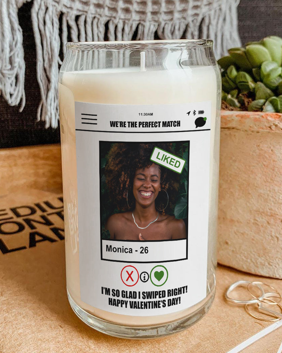 Foal14 Personalized Candle Anniversary Gift, We're The Perfect Match, With Custom Photo