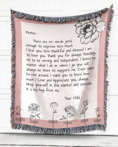 Foal14 Personalized Woven Blanket For Mother Christmas Gift, Peony - To Mother, With Personalized Text