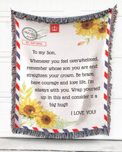 Load image into Gallery viewer, Foal14 Woven Throw For Kids Birthday Gift, Sunflower Airmail - To My Kids, Cotton Blanket