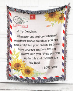 Foal14 Woven Throw For Kids Birthday Gift, Sunflower Airmail - To My Kids, Cotton Blanket