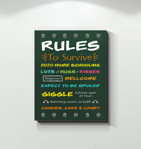 FOAL14 Canvas, Rules To Survive, Solid Front Construction, 1.25 Inches Depth
