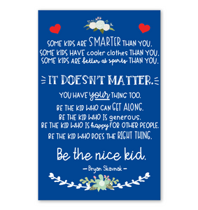 Be The Nice Kid Poster Royal Blue Version
