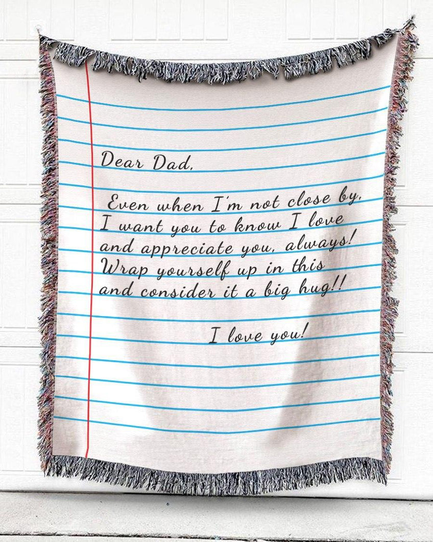 FOAL14 Personalized Woven Blanket For Father Father's Day Gift, NoteBook Throw - Dear Dad, Cotton Blanket