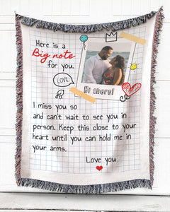 Foal14 Personalized Woven Blanket For Wife Anniversary Gift, A Big Note For You, With Custom Photo