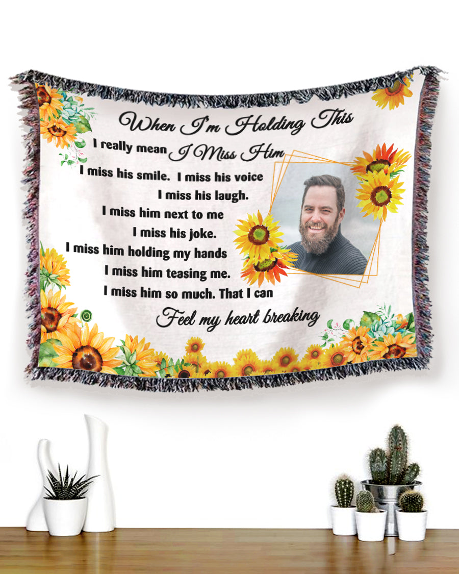 Foal14 Personalized Memorial Woven Blanket Remembrance Gift, Missing Him Sunflower, With Custom Photo