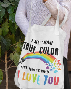 FOAL14 Tote, True Color - I Love You, Spun Poly, Cotton Web Handle