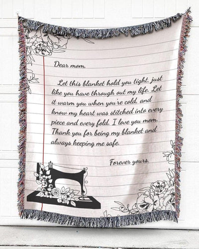 FOAL14 Personalized Woven Blanket For Grandmother Mother's Day Gift, Grandma's Sewing Machine, With Personalized Text