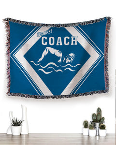 Foal14 Woven Throw For Sports Lovers Christmas Gift, Thanks Coach Of Sports, Cotton Blanket