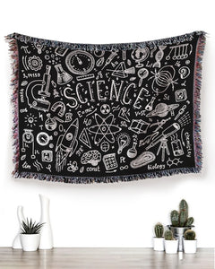 Foal14 Woven Throw For Kids Birthday Gift, Science Chalkboard, Cotton Blanket
