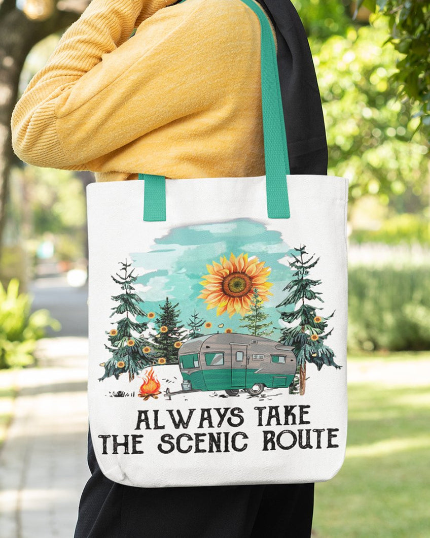 FOAL14 Tote, Always Take Scenic Route, Spun Poly, Cotton Web Handle