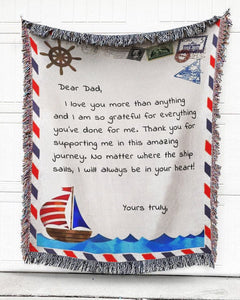 FOAL14 Personalized Woven Blanket For Father Father's Day Gift, Amazing Journey, With Personalized Text