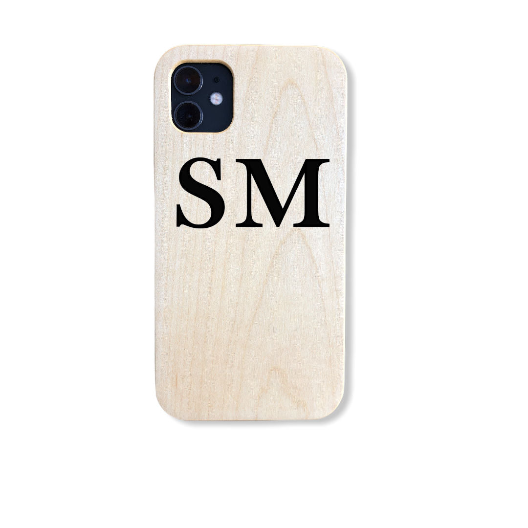 Custom Wood Phone Cases: Print your Name or Initials