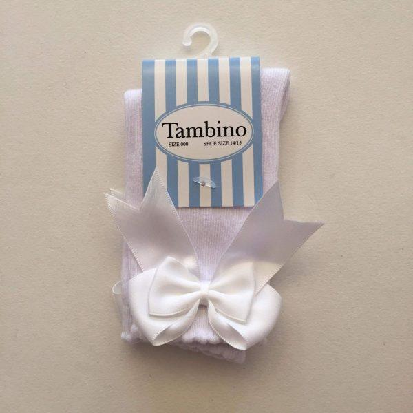 Tambino knee high socks with double bow in white
