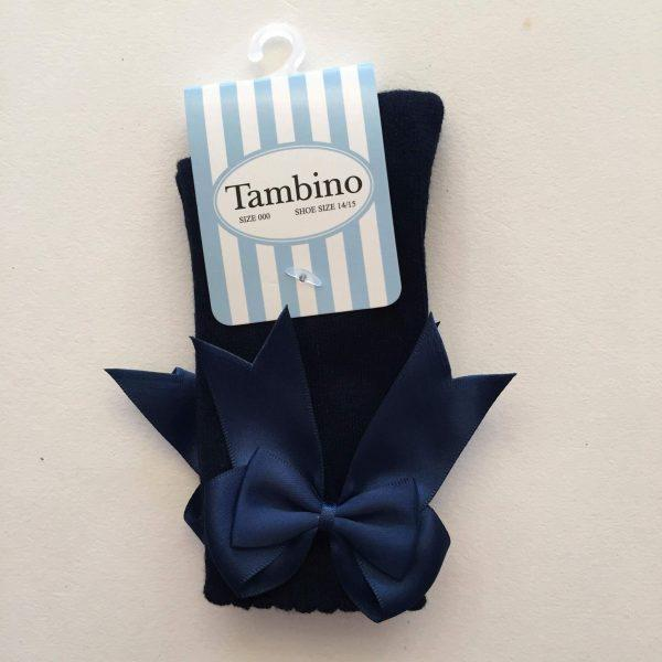 Tambino knee high socks with double bow in navy