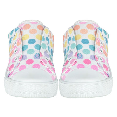 A Dee Printed Canvas Trainers in White with Rainbow Polka Dots