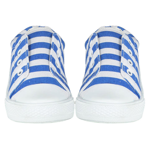 Side view of the A Dee Striped Trainers - Blue & White