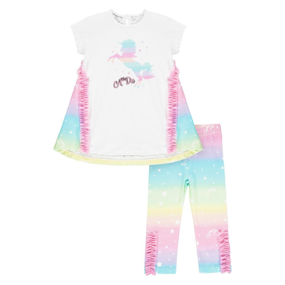 A Dee Natalia Unicorn Leggings Set in White & Rainbow