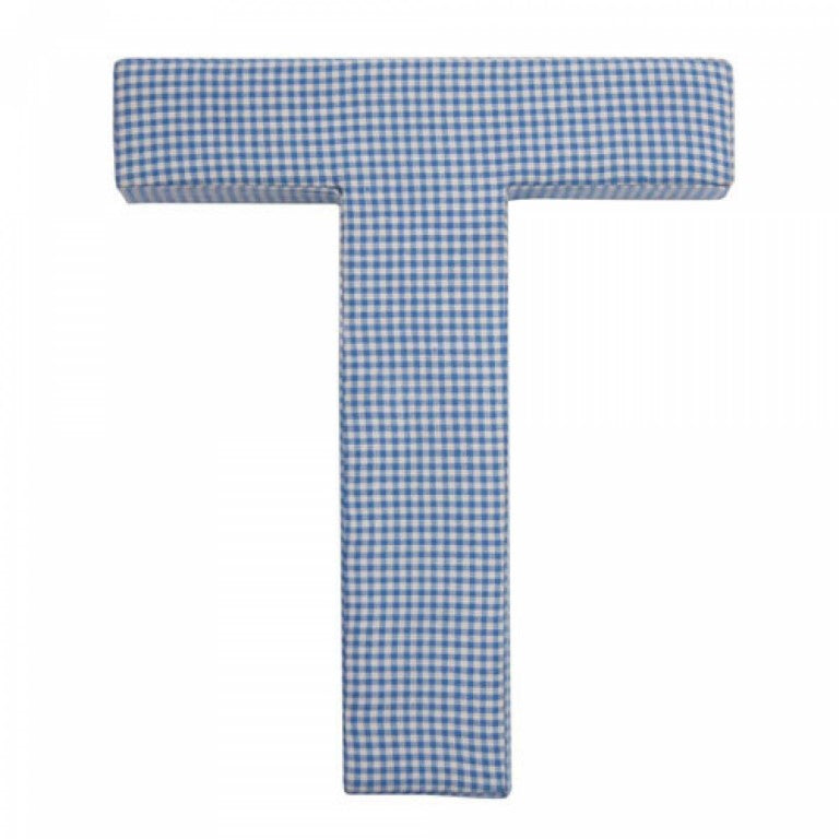 Navy Blue Gingham Fabric Letters