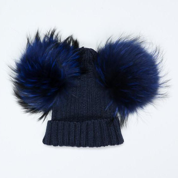 Bobble Babies Double Faux Fur Pom Pom Hat - Navy
