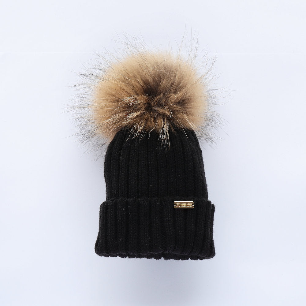 Bobble Babies Faux Fur Pom Pom Hat - Black with Natural Pom Pom