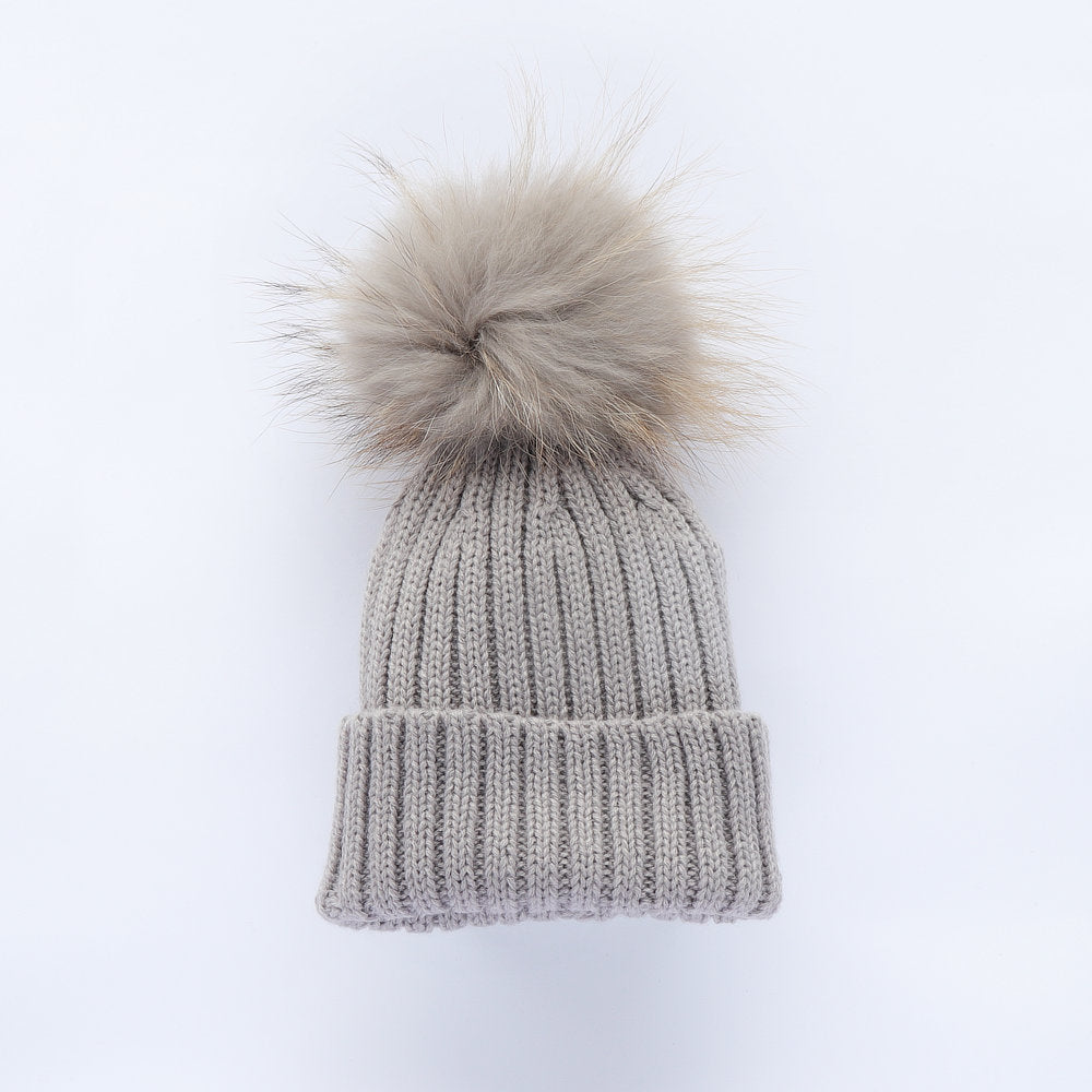 Bobble Babies Faux Fur Pom Pom Hat - Light Grey