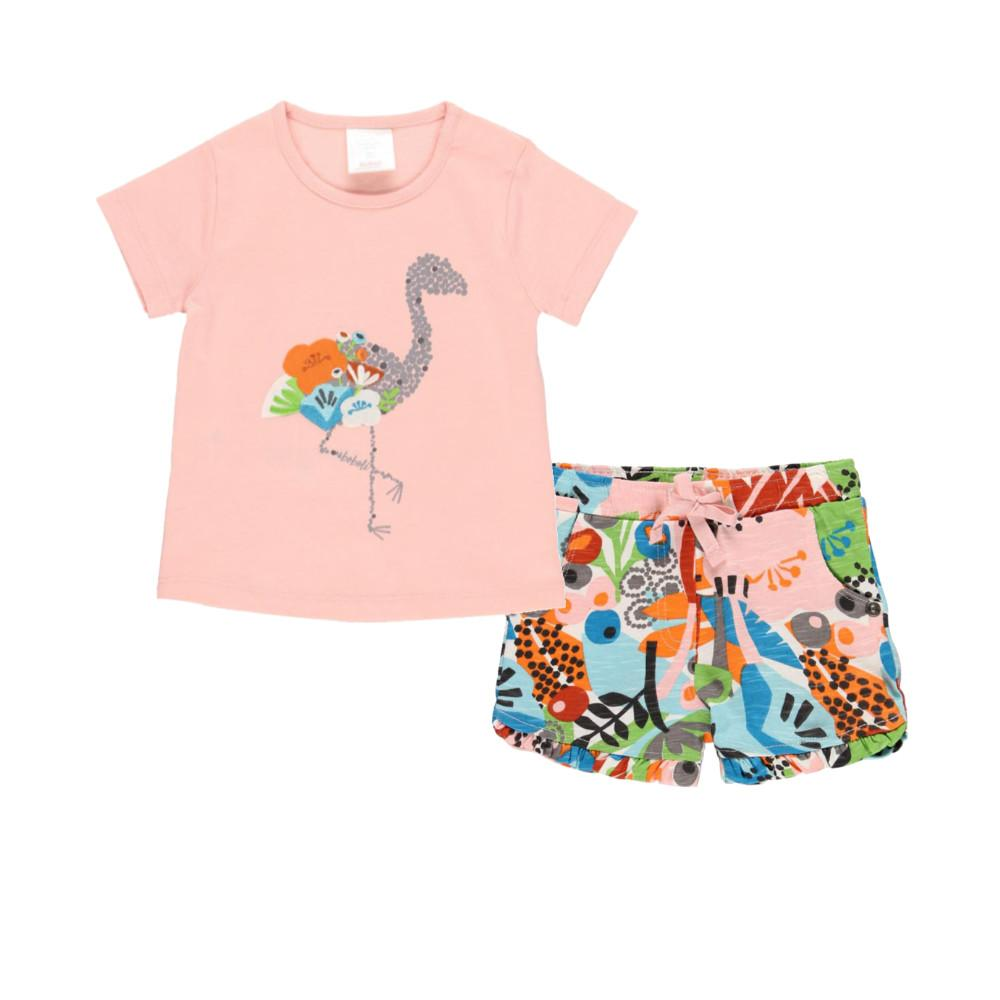 Boboli Girls Bird Print T Shirt Shirts Set in Pink