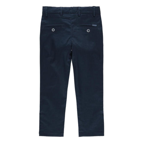 Boboli Boys Satin Stretch Trousers in Navy