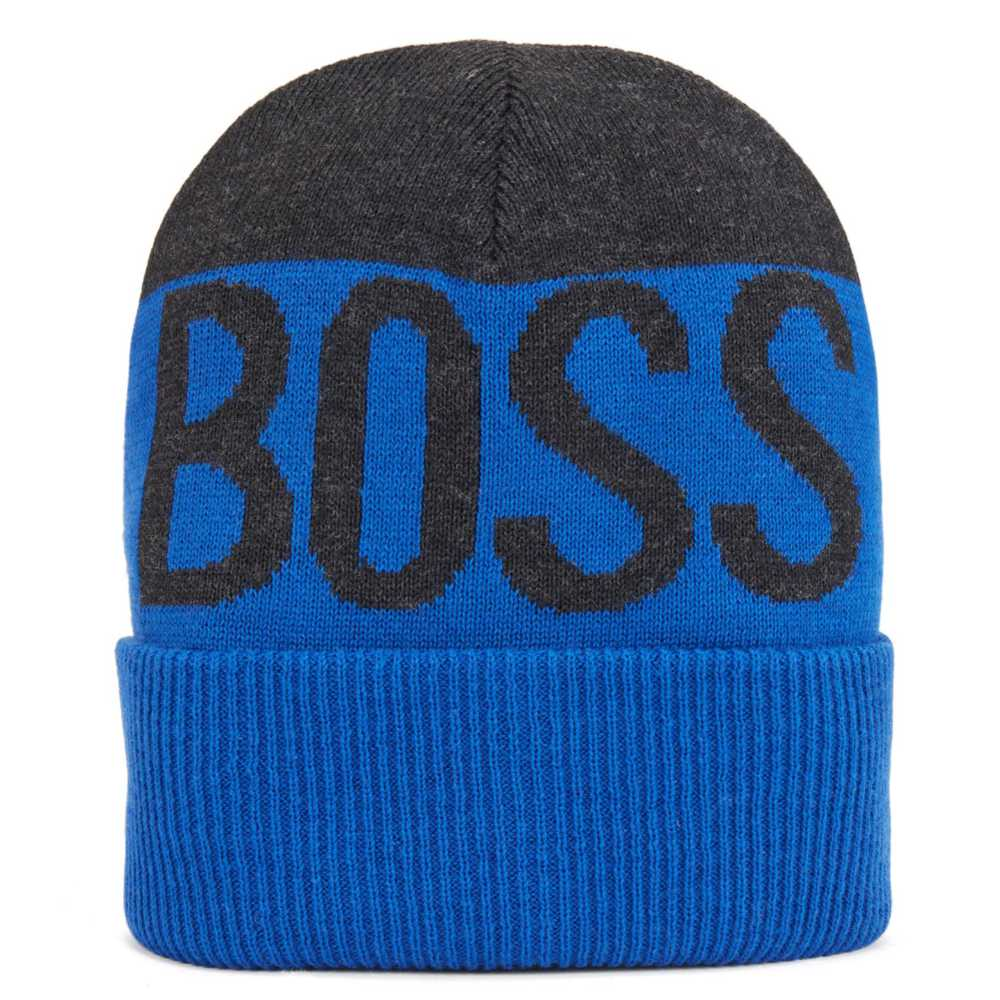 BOSS Boys Logo Beanie Hat - Blue