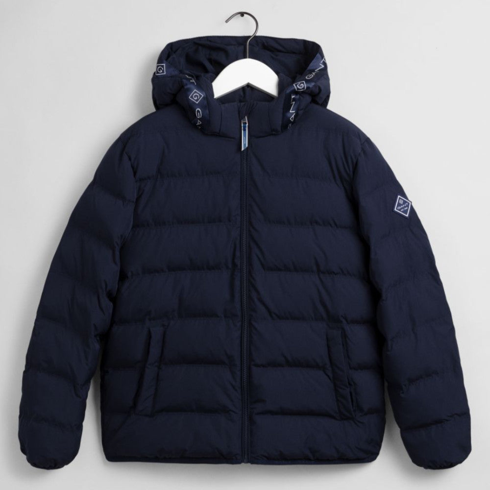 GANT Boys Logo Striped Navy Puffer Jacket - 970226