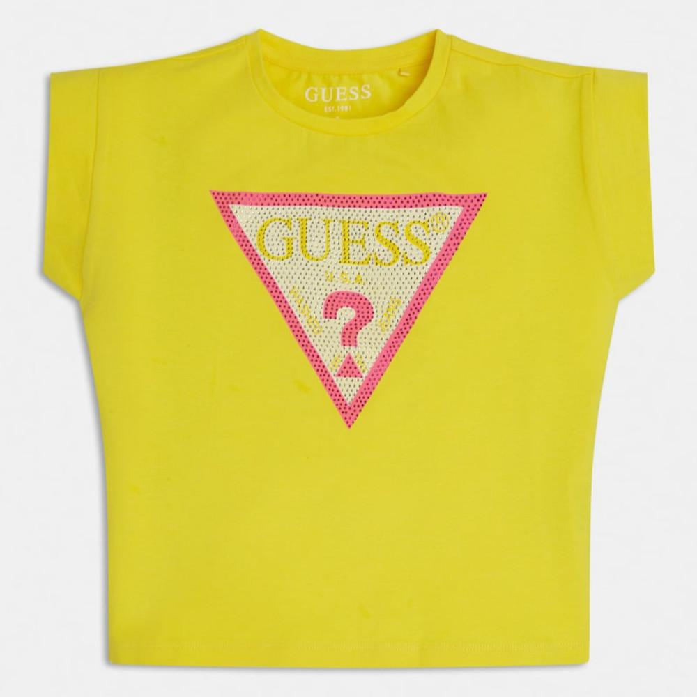 Guess Cropped T-Shirt Yellow - j1ri26