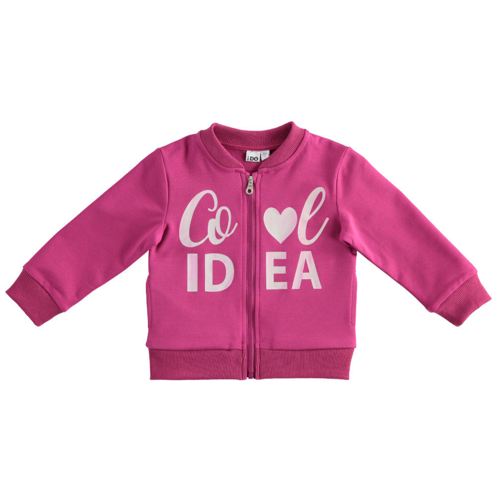 iDo Girl's 'Cool Idea' Zip Up Sweater in Pink