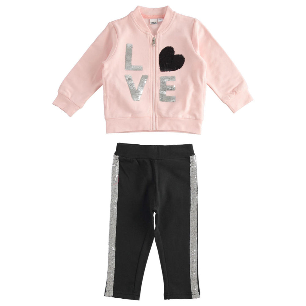 iDo Girl's Sequin Tracksuit - Pink