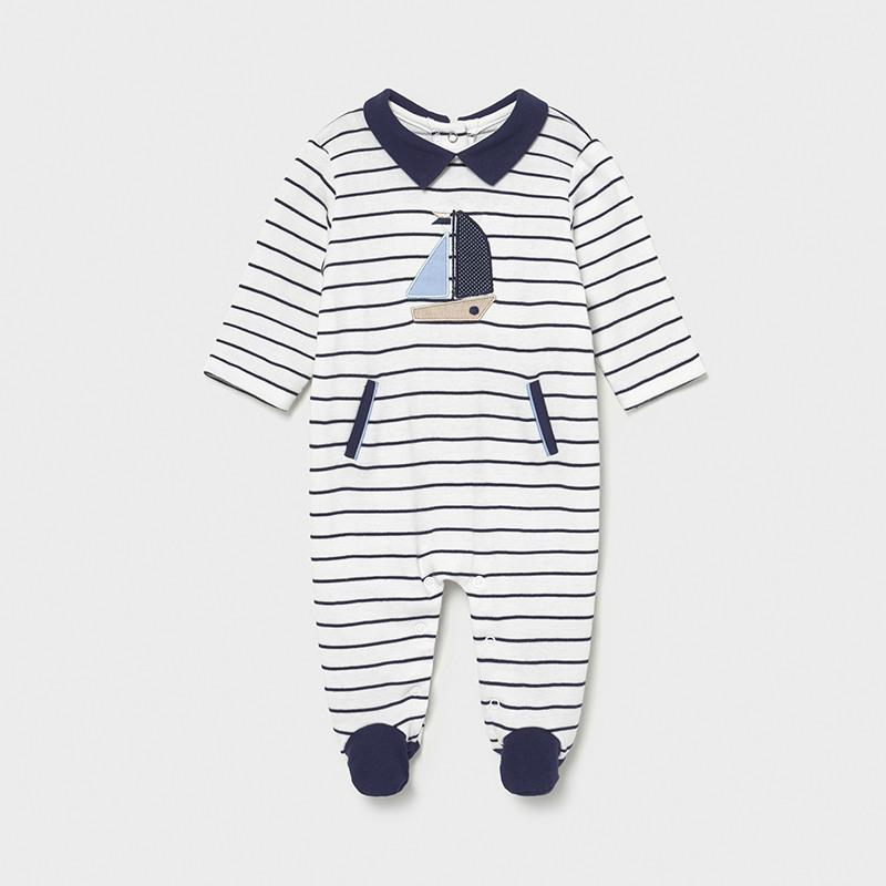 Mayoral Boys Striped Babygrow Navy 01628