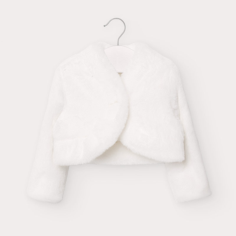 Mayoral Girls Faux Fur Cardigan in White - 02403