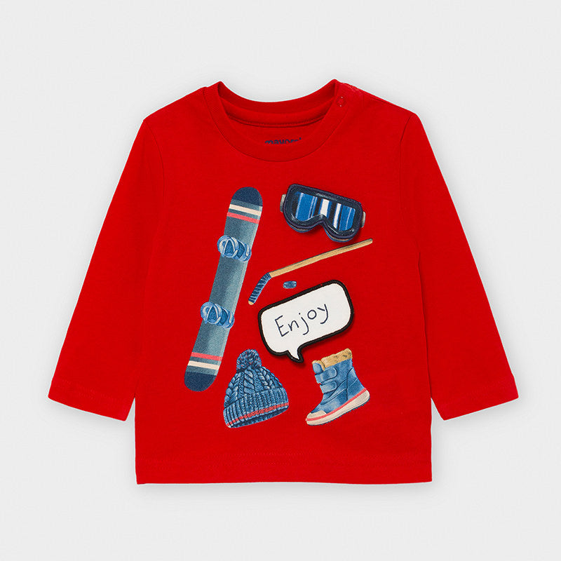 Mayoral Play with Ski T-Shirt for Baby Boy in Red - 02047