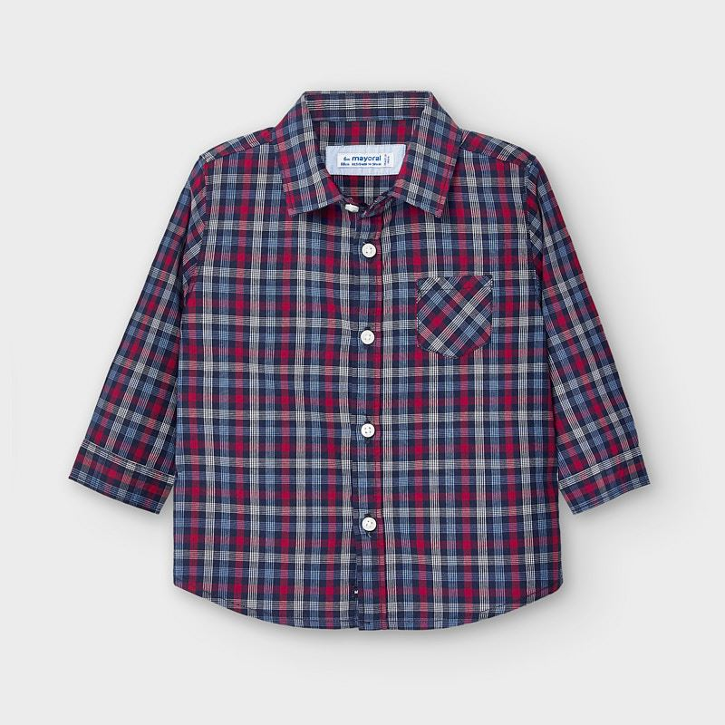 Mayoral Poplin Checked Shirt for Baby Boy in Navy & Red - 02130