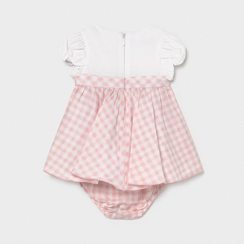 Mayoral Newborn Girls Combined Vichy Dress Candy 01803