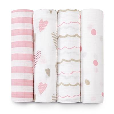 Aden and Anais Swaddle 4 Pack - Heart Breaker