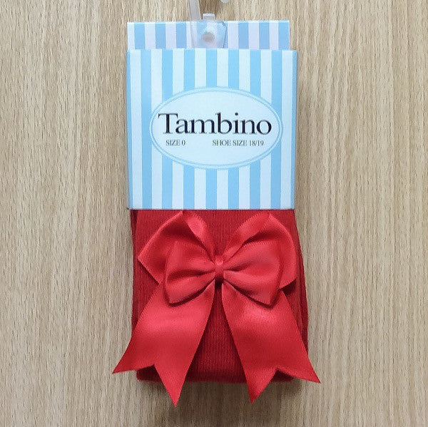 Tambino Girl's Tights with Bow - Red