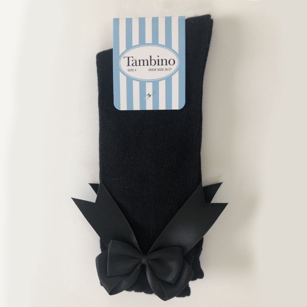 Tambino Girl's Knee High Socks with Bow - Black