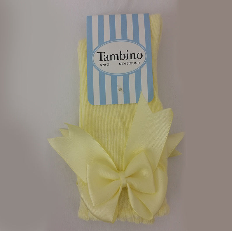Tambino Girl's Knee High sock with Bow - Lemon