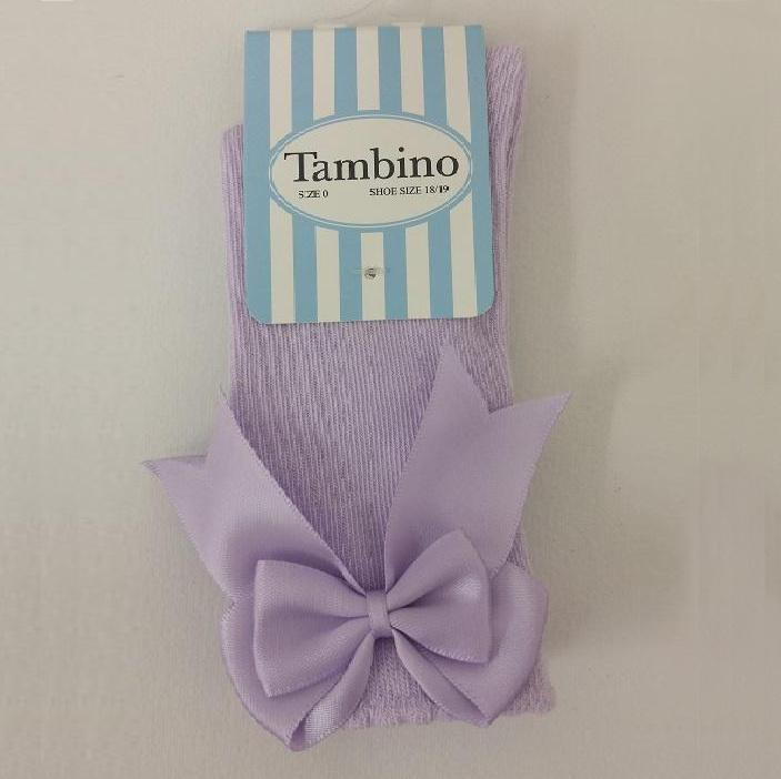 Tambino Girl's Knee High Socks with Bow - Lilac