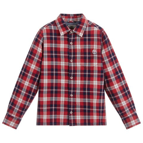 Timberland Boys Red Check Cotton Shirt