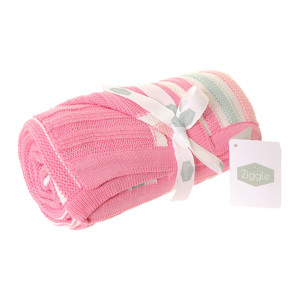 Ziggle Baby Blanket Pink and Green Stripes