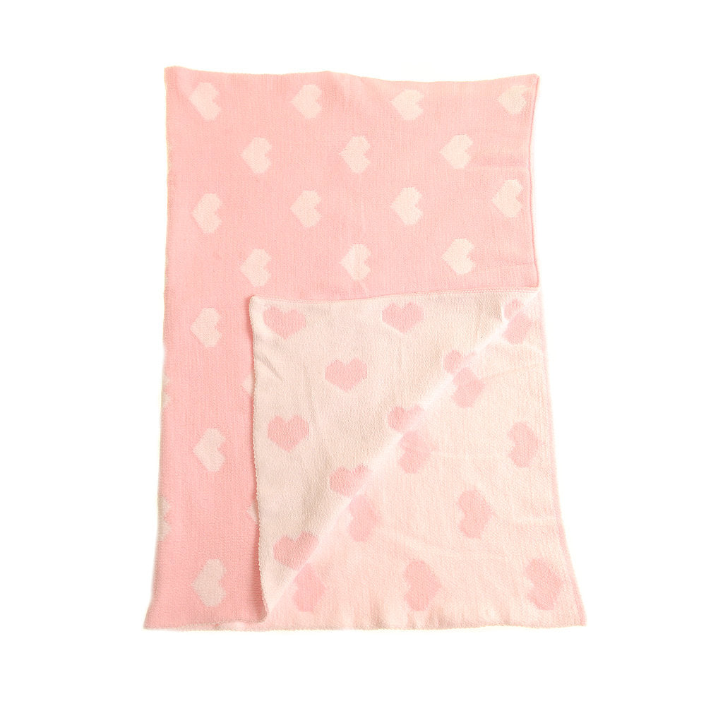 Ziggle Baby Blanket Pink and White Hearts